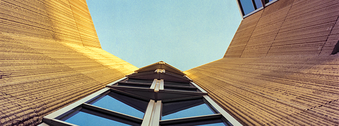 Bottom-up view of Hogan building